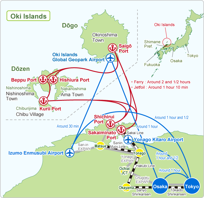 Access map from Tokyo