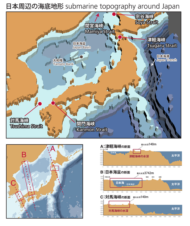 Tide of the sea of japan and funagoya traditional boat houses oki submarine topography of the sea of japan gumiabroncs Images